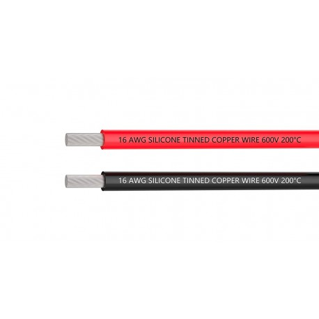 16AWG silicone wire red & black  (1m each) - Wire - Drone - Xbotics